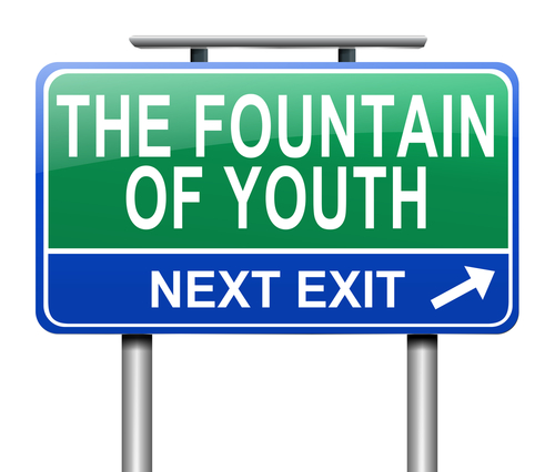 Illustration depicting a sign with a fountain of youth concept.