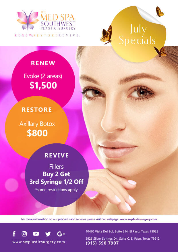 July Specials: Hair Rejuvenation, Mid face Rejuvenation, Intensive Facial Repair Regimen, And Anti-aging Regimen